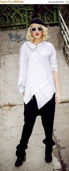 SALE 20% OFF Deconstructed White Top Loose White Shirt Funky https://www.etsy.com/listing/212374186/sale-20-off-deconstructed-white-top?utm_campaign=crowdfire&utm_content=crowdfire&utm_medium=social&utm_source=pinterest