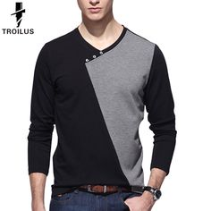 Find More T-Shirts Information about Troilus T Shirt Men Brand 2016 Fashion Men'S V Neck Button Deco Tops Tees Patchwork T Shirt Mens Long Sleeve Slim Tshirt Homme,High Quality tshirt love,China tshirt lycra Suppliers, Cheap tshirt women from Troilus Flagship Store on Aliexpress.com