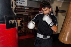 Boxing gloves, shorts and tshirt