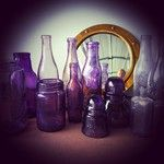 Collection of gorgeous purple bottles, jars & insulators