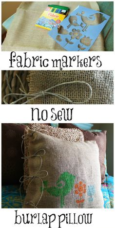 burlap no sew pillow stenciled with fabric markers