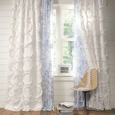DIY Ruffle drapes white- patterned shear - for the office