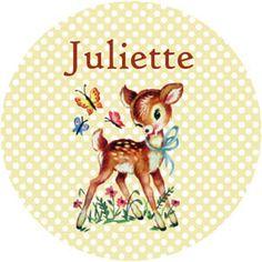 Geboortekaartje Juliette - ontwerp voor buttons - Pimpelpluis - https://www.facebook.com/pages/Pimpelpluis/188675421305550?ref=hl (# dieren - hertje - lief - schattig - retro - vintage - hert - vlinder - origineel)