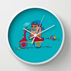 bike Wall Clock by PINT GRAPHICS - $30.00