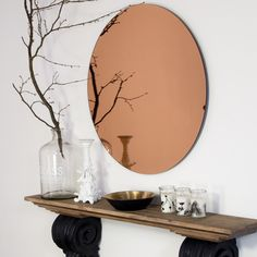 Large Round Copper Mirror - Uniche Interior Furnishings