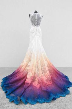 Cute Prom Dresses, White Wedding Dresses, Ball Dresses, Pretty Dresses, Ball Gowns, Dip Dye Wedding Dress, Lace Wedding, Wedding Hijab, Colored Wedding Dress