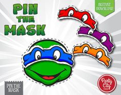 TMNT Pin The Mask Game - INSTANT DOWNLOAD - Party Favor Activities - Printable Teenage Ninja Mutant Turtles Birthday Party Decoration