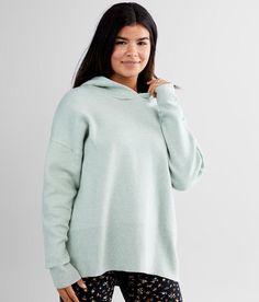 BKE Brushed Knit Hooded Sweatshirt - Women's Sweatshirts in Harbor Grey | Buckle Closet Renovation, Women's Sweatshirts, Hoods, Turtle Neck, Knitting, Grey, Sweaters, Fashion, Gray