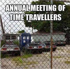 Annual meeting of time travelers. Back to the Future and Doctor Who.