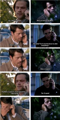 "11x01 Out Of The Darkness, Into The Fire & 10x02 Reinchenbach [gifset] - Cas' reaction to hearing that Dean is a demon vs hearing that Dean is freed - Castiel, Sam and Dean Winchester, Supernatural - careful Cas, your ""profound bond"" is showing!"