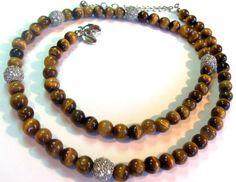 STERLING SILVER 925 ESPO TIGER EYE SS CZ BEAD NECKLACE Estate Jewelry nice