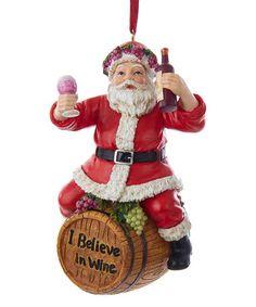 Look what I found on #zulily! Kurt Adler Wine Barrel Santa Ornament #zulilyfinds