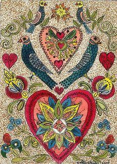 """Valentine Fraktur with Hearts and Birds"" by Theodora Demetriades"