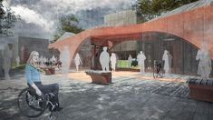 Public toilets with additional program : coffee bar ,bike pit stop , summer cinema . City of Greater Słupsk / Poland designed by FAAR architekci Toilets, Poland, Competition, Cinema, Public, Coffee, Summer, Design, Bathrooms