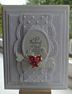 Another Debbie Stevens...Spellbinders Grand rectangles, Spellbinders A2 scalloped borders, Spellbinder classic ovals large, marianne designs (leaf) justrite hugs and kisses stamp, Sue Wilson heart lattice embossing folder, flowers from Wild orchid