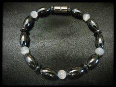 White Decorative Beads Single Magnetic Bracelet $14.00