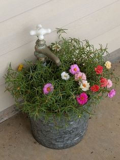 old bucket planter with old faucet