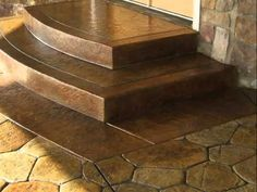 Rounded & Squared off steps.   Stamped and Stained Concrete By: Grey Stone Olympia WA