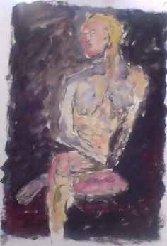 """Nude; oil paint and pencil on paper, 8x11"""""""