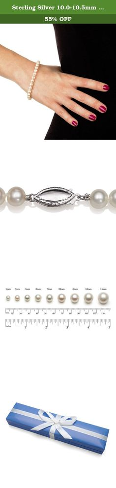 "Sterling Silver 10.0-10.5mm White Cultured Freshwater Pearl Strand Bracelet, 7"". Wrap your wrist in simplistic beauty and class with this strand-style bracelet featuring 10.0-10.5mm genuine white cultured freshwater pearls secured with a rhodium-plated sterling silver fishhook clasp. Pair this 7"" bracelet seamlessly with everything from your favorite dress to a casual button-front shirt and jeans. With a design simple enough to wear over and over again, this bracelet is the perfect…"