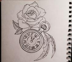 Clock , rose , tattoo desing