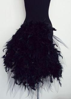 BLacK Burlesque TuTu Skirt Bustle Belt Feathers 6-12 Sexy