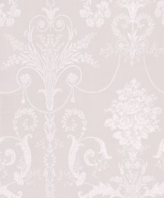 Josette White/Dove Grey (3260343) - Laura Ashley Wallpapers - An ornate and elegant damask, featuring glamorous chandeliers and romantic rose bouquets in the stylish combination of white and dove grey. Please request a sample for true colour match.
