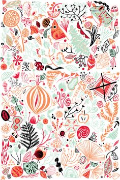 Cute little doodle illustration by Meg Hunt. Love the red, orange, mint, and black combination of colors.