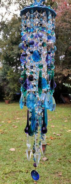 Peacock Wind Chime Aqua and Purple Crystal Wind Chime