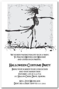 Skeleton Waltz Halloween Party Invitations from TheInvitationShop.com