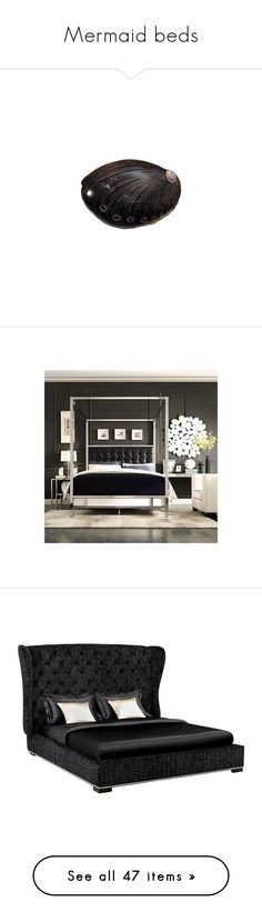 """""""Mermaid beds"""" by turbulentbeauty ❤ liked on Polyvore featuring shell, home, furniture, beds, inspire q furniture, black queen canopy bed, black queen bed, queen headboard, queen canopy bed frame and upholstered queen bed"""