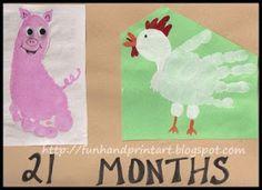 Footprint Pig & Handprint Chicken ~ farm animal craft for kids