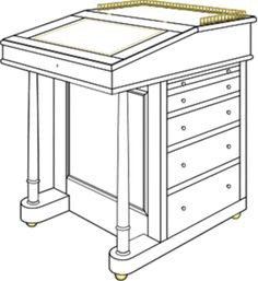 A Davenport desk is usually rather tall so it can be used while standing up or on a high stool.  In fact you don't have much choice.  If you make a desk in that specific form you don't have any space under the writing surface for your legs! Unless of course you mean to use it as a kneehole desk, where only one leg is placed under the surface!