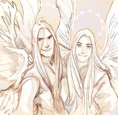 Manwë and Melkor in happier days… // I'm crying, this is giving me so many sibling feels...