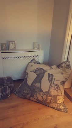 Designer floor cushion bean bag from cream cornwall grey trio velvet