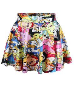 Cartoon Print Pleated Skirt 8.90