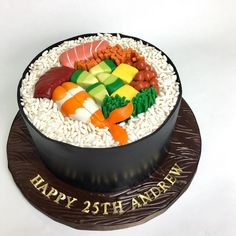 One piece round sushi anyone?You can find Sushi cake and more on our websi. My Birthday Cake, Birthday Cake Decorating, Cake Decorating Tips, Sushi Cake, Sushi Party, Fondant Cakes, Cupcake Cakes, Lizard Cake, Cake For Boyfriend