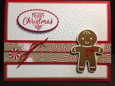 Cookie Cutter Christmas, Gingerbread Boy Christmas Card, Stampin' Up!, Rubber Stamping, Handmade Cards