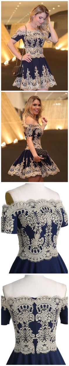 A-line Off the shoulder Short Mini Dark Navy Tulle Short Prom Dress Homecoming Dresses SKY762