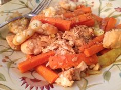 Salmon and Shrimp with Carrots sautéed in Ghee: 2/1/13