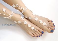 Barefoot Sandals WHITE FLOWER, Valentine's Day gift, beach wedding accessory, nude shoes. $17.00, via Etsy.
