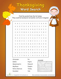 Worksheets: Thanksgiving Word Search