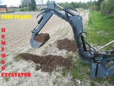 Homemade Tractor, Hydraulic Excavator, Project Free, Homemade Tools, Backyard Projects, Go Kart, Outdoor Power Equipment, How To Plan, Wood Decks