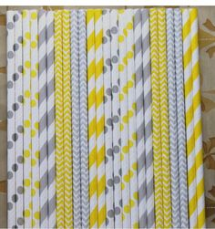25 #Mixed  Gray and Yellow Striped, #Chevron and Polka Dot  #Paper Straws birthda,  View more on the LINK: 	http://www.zeppy.io/product/gb/3/246172280/