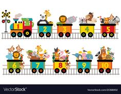 Train with number of animals Royalty Free Vector Image Toddler Learning Activities, Indoor Activities For Kids, Fun Activities, Number Words Worksheets, Fun Worksheets For Kids, Bee Crafts For Kids, Preschool Crafts, Class Decoration, School Decorations