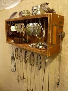 Jewelry Display from a Card Catalog Drawer #fashionjewelrytips