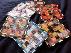 Magic the Gathering Woven Coasters - Black Corners (Set of 6). $10.00, via Etsy.