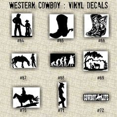 "SMALL 5""-6"" - COWBOY vinyl decals - car decal - laptop sticker - cowboy - ranch - decal - 55-90"
