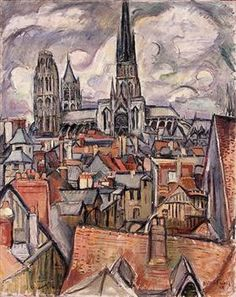 Roofs and Cathedral in Rouen - Othon Friesz