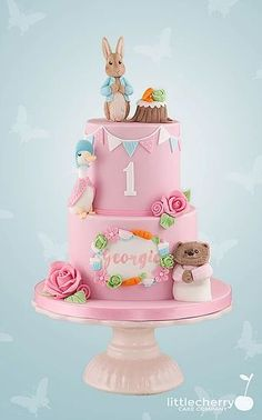 Little Cherry Cake Company - Kids Cakes Peter Rabbit Party, Peter Rabbit Cake, Peter Rabbit Birthday, 1st Birthday Cake For Girls, 1st Birthday Cakes, Birthday Ideas, Baby Birthday, Beatrix Potter Cake, Christening Cake Girls